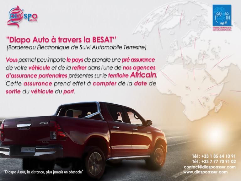 Diaspo assur vous propose la pré-assurance Besat pour vos véhicules envoyés à destination de l'Afrique
